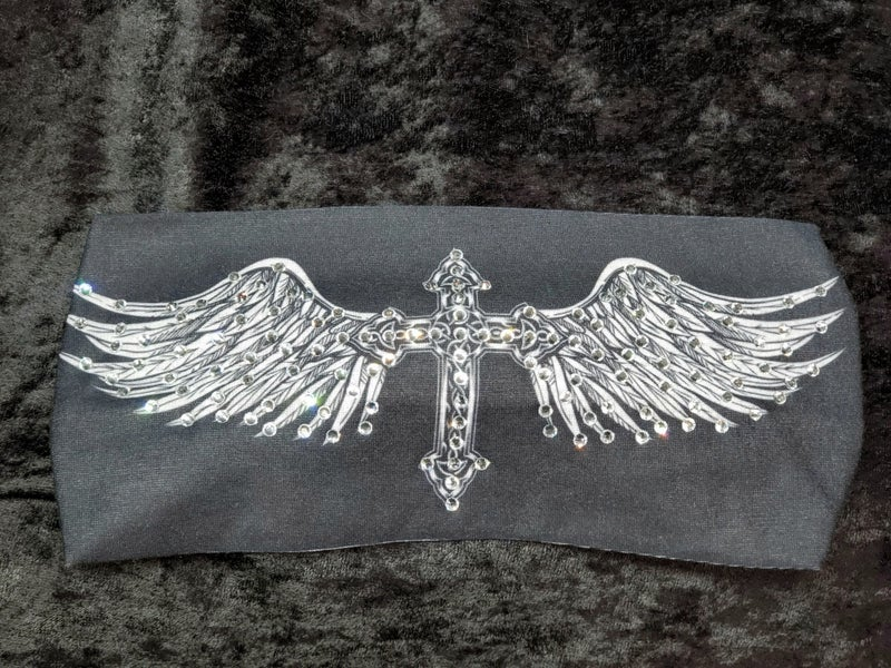 Stretchy Black Cross with Wings Headband with Clear Crystals (Sku5042)
