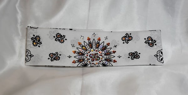 White Paisley with Orange and Diamond Clear Swarovski Crystals (Sku2005)