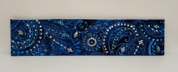 Narrow Blue Batik with Turquoise Diamond Clear Swarovski Crystals (Sku1806)