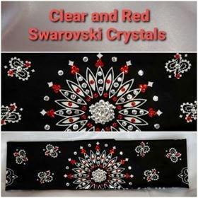 Black Paisley With Red and Diamond Clear Swarovski Crystals (Sku1927)