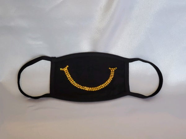 Face Mask with Yellow Smile Swarovski Crystals *Final Sale* (Sku5901)
