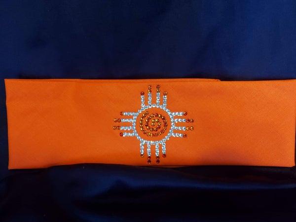Zia on Orange with Orange and Diamond Clear Swarovski Crystals (Sku9707)