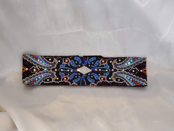 Narrow Blue Indian with Blue, Turquoise and Diamond Clear Swarovski Crystals (Sku1405)