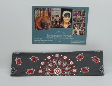 LeeAnnette Charcoal Paisley with Red and Diamond Clear Swarovski Crystals (Sku4252)