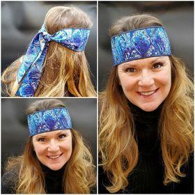 Blue Turquoise Oil Slick Headband Strip with Purple, Turquoise and Diamond Clear Swarovski Crystals (Sku5507)