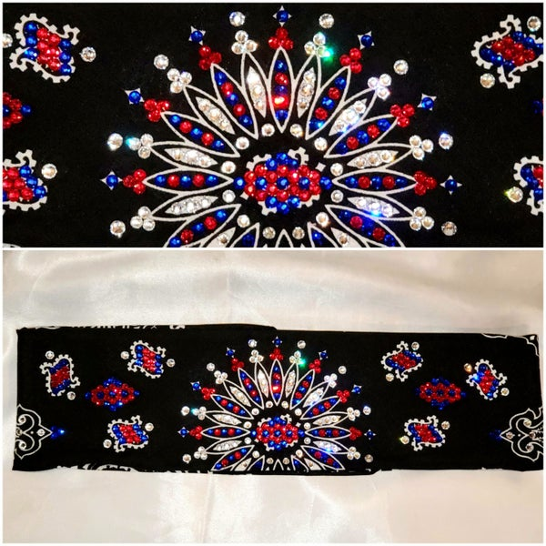 Black  Bandana with Red White Blue crystals LeeAnnette (Sku4072)