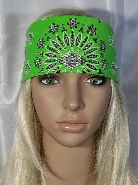 Lime LeeAnnette Bandana with clear and peridot green crystals (Sku4065)