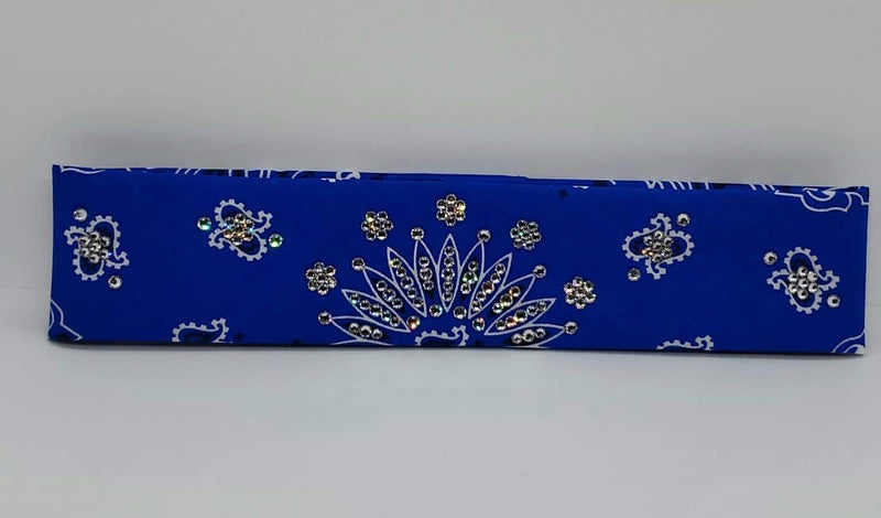 Narrow Blue Paisley with Diamond Clear Swarovski Crystals (Sku2050)