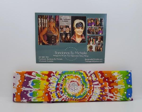 Narrow Spiral Tie Dye Designed Bandana With Clear Swarovski Crystals(Sku1842)