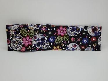 Sugar Skulls and Flowers with Bright Pink, Light Purple and Diamond Clear Swarovski Crystals (Sku9068)