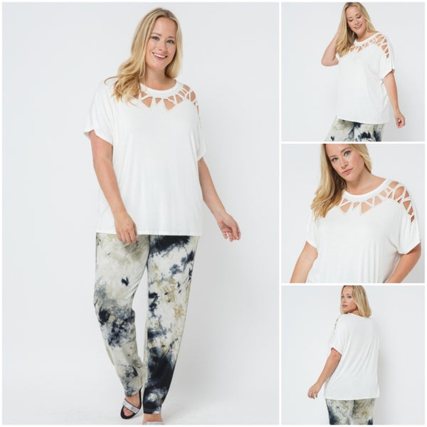 PLUS Size Laser cut Short Sleeve Off White with Stones (18681pws)