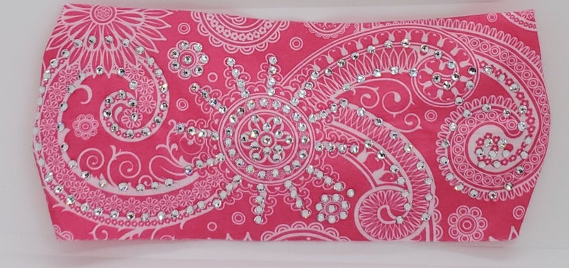 Stretchy Bright Pink Sun Spiral Headband with Clear Crystals (Sku5053)