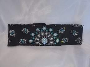 LeeAnnette Black Paisley with Turquoise, Jet Hematite and Diamond Clear Swarovski Crystals (Sku4529)