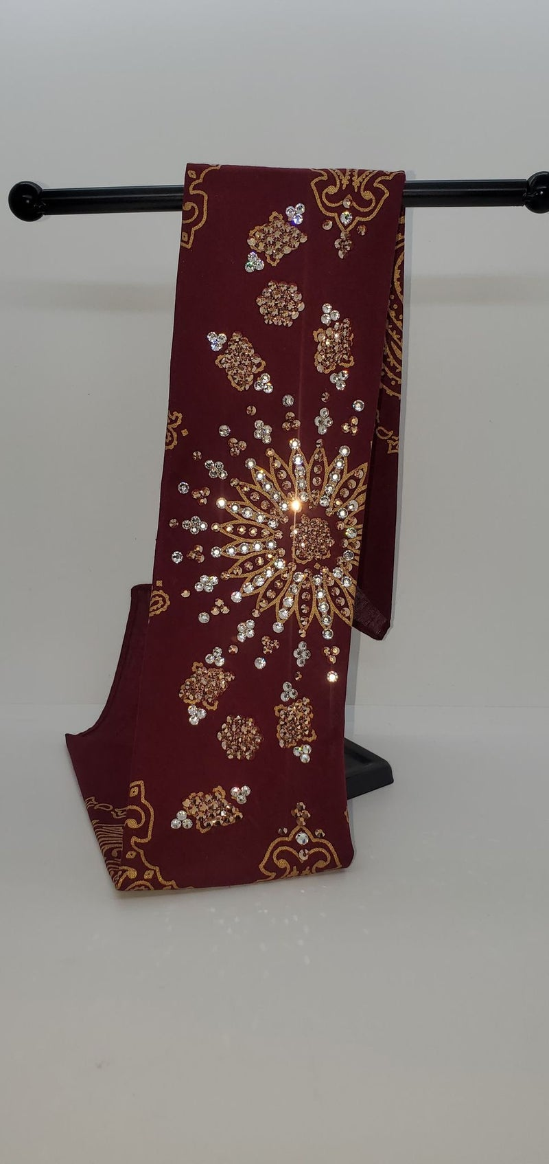 LeeAnnette Gold Paisley on Maroon with Rose Gold and Diamond Clear Crystals (Sku4370)
