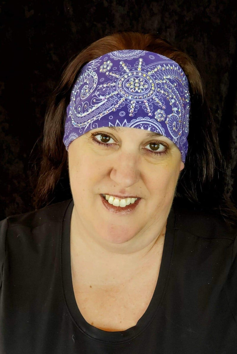 Stretchy Purple Sun Spiral Headband with Aurora Borealis Crystals (Sku5100)
