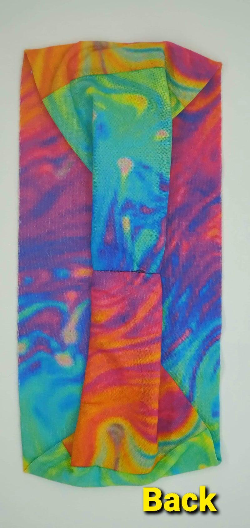 Stretchy Headband Bright Oil Slick Tie Dye with Aurora Borealis crystals (sku5039)