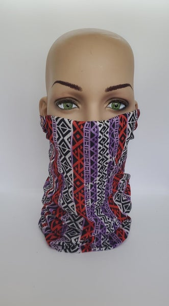 Tube Scarf Black, Red and Purple (Sku8510)