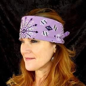 Lavender LeeAnnette with Dark Purple and Diamond Clear Swarovski Crystal Bandana (Sku4019)