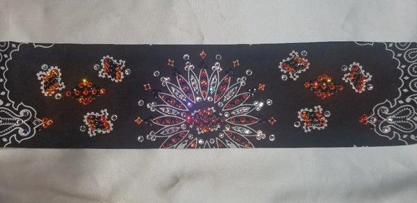LeeAnnette Black Bandana with Orange, Black and Diamond Clear Crystals (Sku4087)