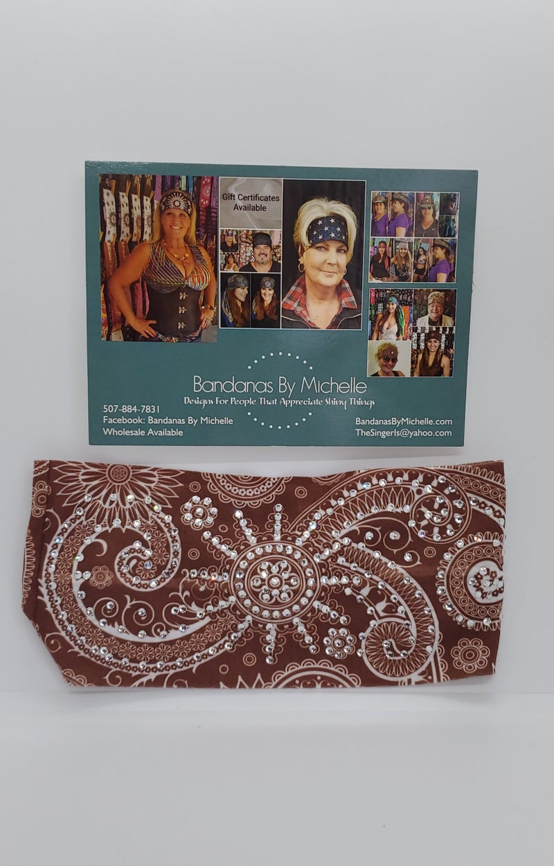 Stretchy Brown Headband With Clear Austrian Crystals (Sku5080)