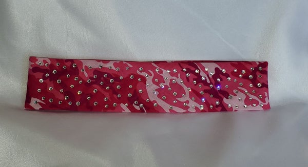 Narrow Pink Camo with Diamond Clear Swarovski Crystals (sku9089)