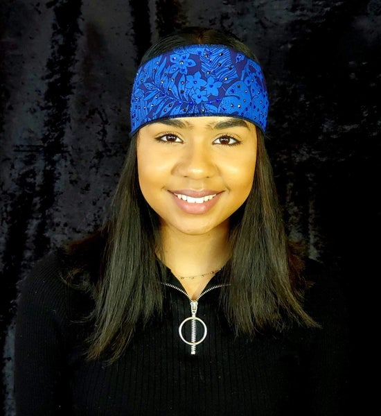 Dark Blue Jungle Leaves Headband Strip with Blue and Black Swarovski Crystals (Sku5560)