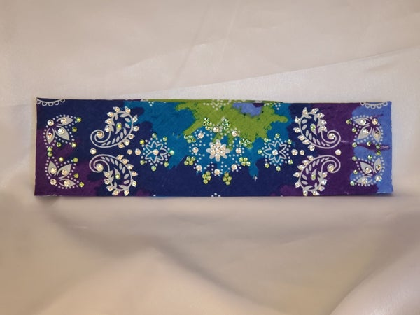 Purple Blue Tie Dye with Light Green and Diamond Clear Swarovski Crystals (Sku9957)