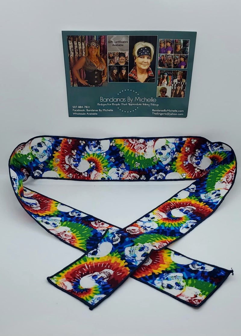 Tie Dye Skulls Headband Strip with Diamond Clear Swarovski Crystals (Sku5554)