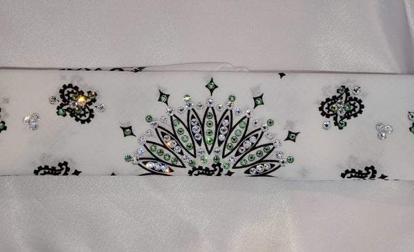 Narrow White Paisley with Peridot Green and Diamond Clear Swarovski Crystals (Sku2037)