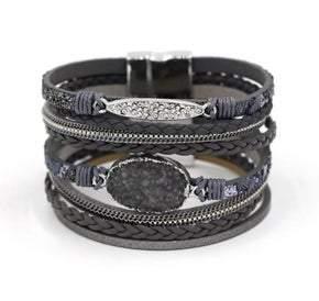 Multilayer Leather Rope Chain  Rhinestone Bracelet (sku8306)