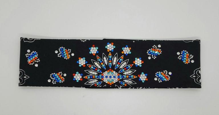 LeeAnnette Black Paisley With Orange, Blue, Turquoise and Diamond Clear Swarovski Crystals (Sku45249)