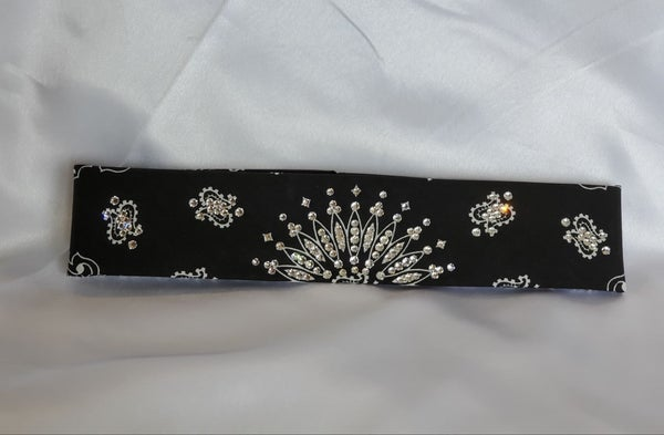 Narrow Black Paisley with Diamond Clear Swarovski Crystals (Sku2070)