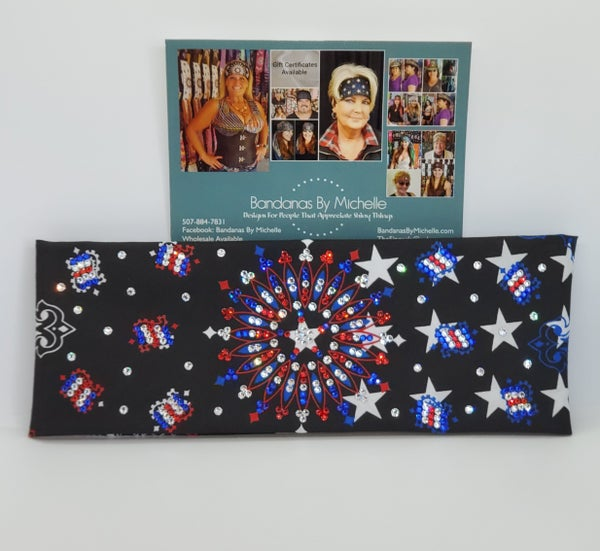 LeeAnnette Black Stars and Stripes Bandana with Red Clear and Blue Swarovski Crystals
