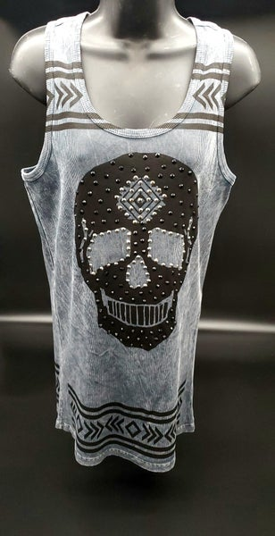 Charcoal Plus Sized Tank Top with skull design