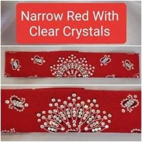 Narrow Red Paisley with Diamond Clear Swarovski Crystals (Sku2103)