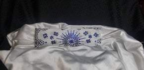 LeeAnnette White Paisley with Blue and Diamond Clear Swarovski Crystals (Sku4085)
