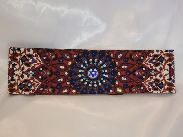 Rust Indian with Blue and Clear Center and Turquoise ring of Swarovski Crystals (Sku1294)