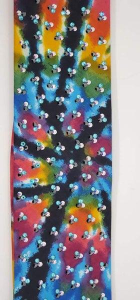 LeeAnnette Tie Dye with Black Streaks with Black, Turquoise and Aurora Borealis Swarovski Crystals (SKU4380)