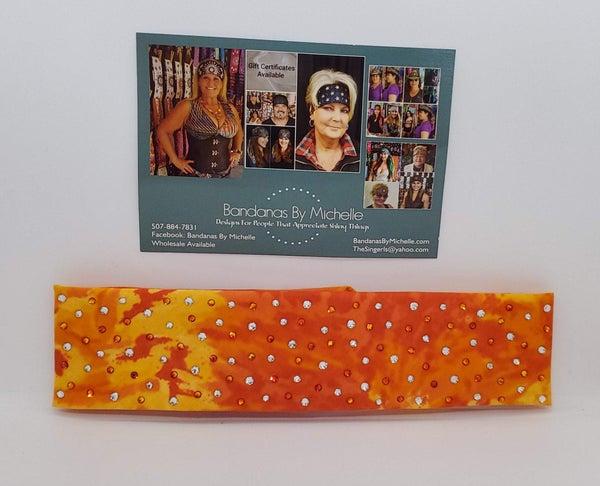 Narrow Burnt Orange Yellow Tie Dye Bandana With Fire Opal Orange and Diamond Clear Swarovski Crystals (Sku1844)
