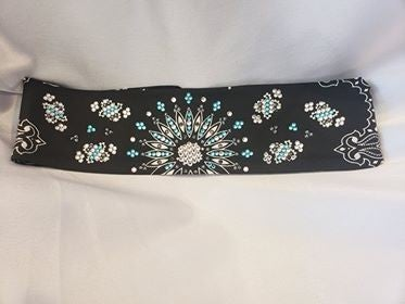 LeeAnnette Black Paisley with Turquoise, Black and Diamond Clear Swarovski Crystals (sku4112)
