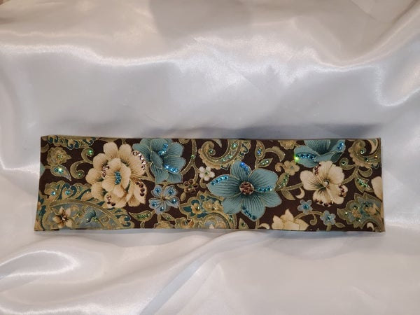 Blue and Cream Flowers with Light Blue, Light Green and Rose Gold Swarovski Crystals