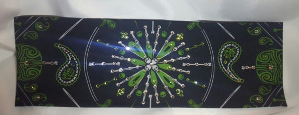 Green Pinstripe Bandana with Swarovski Crystals (Sku9298)