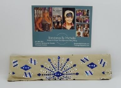 LeeAnnette Tan Paisley with Blue and Diamond Clear Swarovski Crystals (Sku4250)