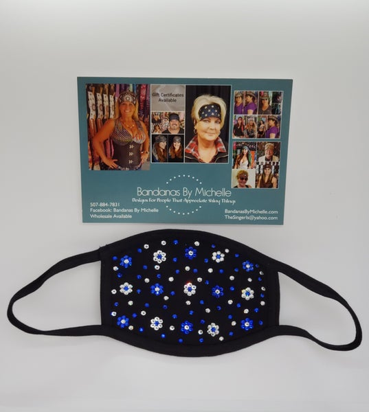 Face Masks EXTRA BLING Floral Pattern Blue and Clear *Final Sale* (Sku5908)