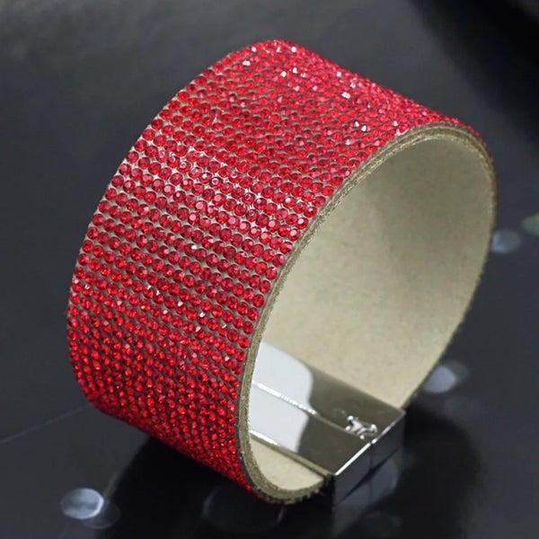 Elegant Leather Austrian Red Crystal Wrap Bracelet (Sku8308)