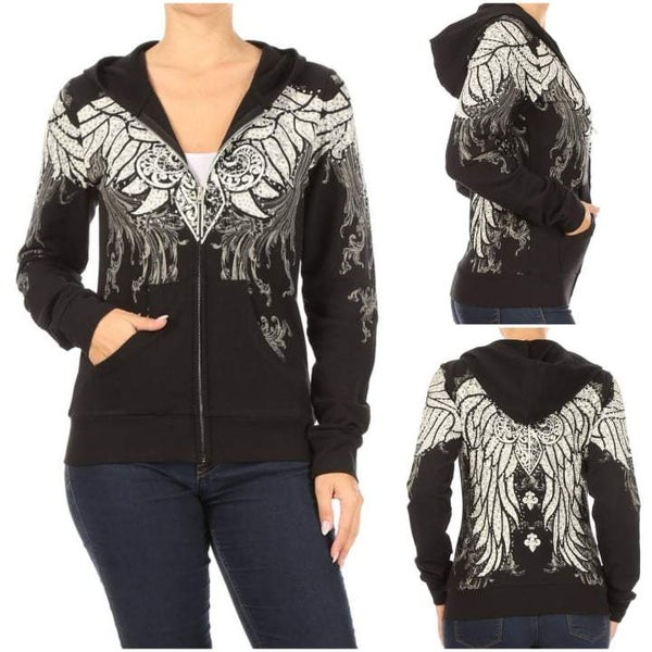 Black Hoodie with Stones in Regular and Plus sizes