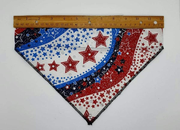 Medium Doggy Dana Red, White and Blue with Crystals