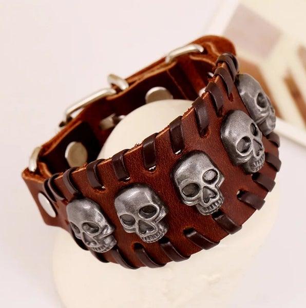 UNISEX Brown leather skull adjustable bracelet (sku8323)