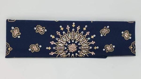 Gold Paisley on Navy Blue with Rose Gold Swarovski Crystals (Sku2045)