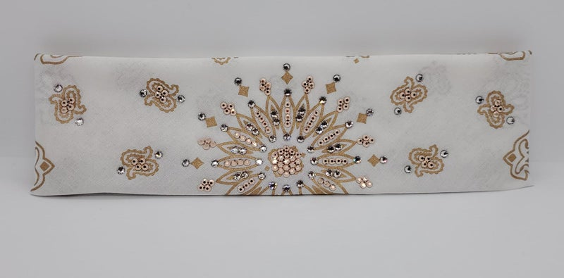 Gold Paisley on White with Rose Gold and Diamond Clear Swarovski Crystals (Sku2047)